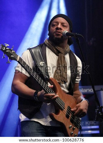 "STUTTGART, GERMANY - APRIL 14: Guitarist ""Alvin Mills"" live in concert on stage at the festival ""Night of Music"" April 14, 2012 in Stuttgart - stock photo"