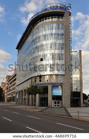 STUTTGART,GERMANY-AUG 11:Volksbank Stuttgart eG on August 11,2016 in Stuttgart,Germany.  Volksbank Stuttgart eG is the largest credit union in Baden-Württemberg