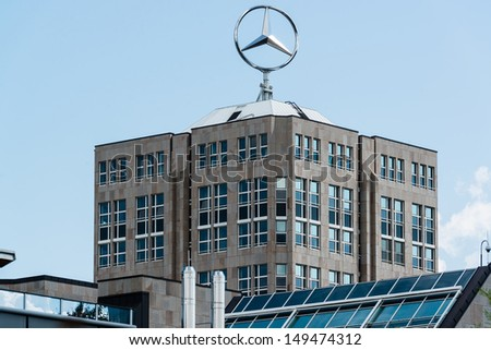 STUTTGART, GERMANY � AUGUST  10,2013: Headquarter of the Daimler group of companies, owner of the car manufacturer Mercedes-Benz, on August 10, 2013 in Stuttgart, Germany. - stock photo