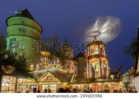 STUTTGART, GERMANY - DEC 01: night at Castle with stalls of traditional Christmas market hold in city center, shot on dec 01 2014 , Stuttgart, Germany  - stock photo