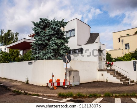 STUTTGART, GERMANY - JULY 11, 2012: The Weissenhof Siedlung model houses were designed in 1927 for the modern architecture exhibition by major rationalist architects of the time (HDR)