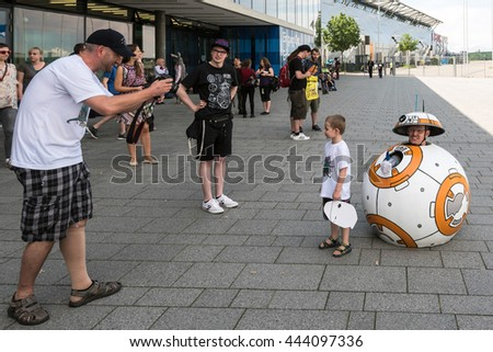 Stuttgart, Germany - June 25, 2016: A cosplayer with a selfmade costume of the BB Unit from Star Wars is posing during the Comic Con Germany event in Stuttgart in front of the exhibition hall on - stock photo