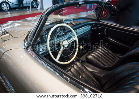 "STUTTGART, GERMANY- MARCH 17, 2016: Cab of roadster Mercedes-Benz 300SL (W198), 1957. Europe's greatest classic car exhibition ""RETRO CLASSICS"""
