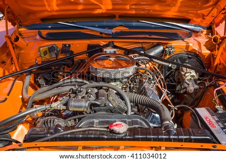 """STUTTGART, GERMANY - MARCH 18, 2016: Engine of Dodge Charger close-up, 1974. Europe's greatest classic car exhibition """"RETRO CLASSICS"""" - stock photo"""