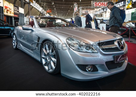 "STUTTGART, GERMANY - MARCH 17, 2016: Grand tourer car Mercedes-Benz SL500 (R230), 2008. Europe's greatest classic car exhibition ""RETRO CLASSICS"""