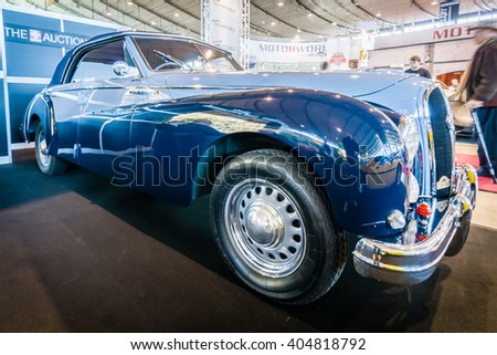 "STUTTGART, GERMANY - MARCH 17, 2016: Luxury car Hotchkiss Anjou 2050 Cabriolet by Worblaufen, 1950. HDRi. Europe's greatest classic car exhibition ""RETRO CLASSICS"" - stock photo"