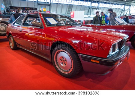 "STUTTGART, GERMANY - MARCH 17, 2016: Luxury sports car Maserati 2.24v Biturbo, 1990. Europe's greatest classic car exhibition ""RETRO CLASSICS"""