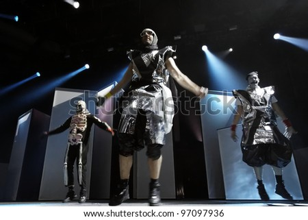 STUTTGART, GERMANY - MARCH 7: Members of the Hip-Hop group  DEICHKIND live in concert on stage at the festival March 7, 2012 in Stuttgart, Germany - stock photo