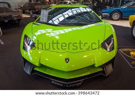 "STUTTGART, GERMANY - MARCH 17, 2016: Mid-engined sports car Lamborghini Aventador LP 750-4 SuperVeloce, 2016. Europe's greatest classic car exhibition ""RETRO CLASSICS"" - stock photo"