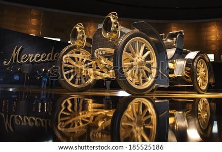 "STUTTGART, GERMANY - MARCH 30, 2014: Museum ""Mercedes-Benz Welt"". Mercedes Simplex 40 PS - 1902 - stock photo"