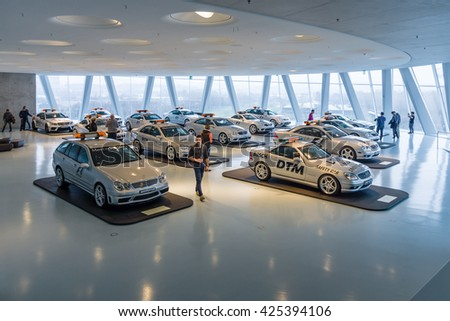 STUTTGART, GERMANY- MARCH 19, 2016: Official F1 and DTM series Medical and Safety of Mercedes-Benz AMG cars. Mercedes-Benz Museum.