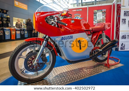 "STUTTGART, GERMANY - MARCH 17, 2016: Racing motorcycle Magni MV Agusta 750 Super America, 1977. Europe's greatest classic car exhibition ""RETRO CLASSICS"""