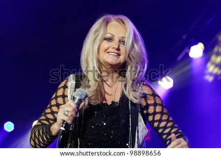 STUTTGART, GERMANY - MARCH 24: Singer Bonnie Tyler live in concert on stage at the festival March 24, 2012 in Stuttgart, Germany - stock photo