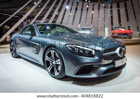 "STUTTGART, GERMANY - MARCH 17, 2016: Sports car Mercedes-Benz SL 400 (R231), 2016. Europe's greatest classic car exhibition ""RETRO CLASSICS"" - stock photo"