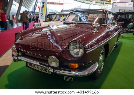"STUTTGART, GERMANY - MARCH 17, 2016: Sports car Renault Caravelle (Florida) Coupe, 1968. Europe's greatest classic car exhibition ""RETRO CLASSICS"" - stock photo"