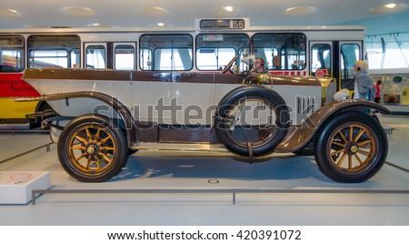 STUTTGART, GERMANY- MARCH 19, 2016: Vintage car Mercedes-Knight 16/45 PS Tourer, 1921. Mercedes-Benz Museum. - stock photo