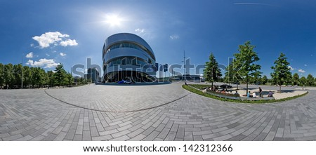 """STUTTGART, GERMANY - MAY 19: Panorama of the museum """"Mercedes-Benz Welt"""" on May 19, 2009 in Stuttgart, Germany. The museum hosts several special exhibitions each year. - stock photo"""