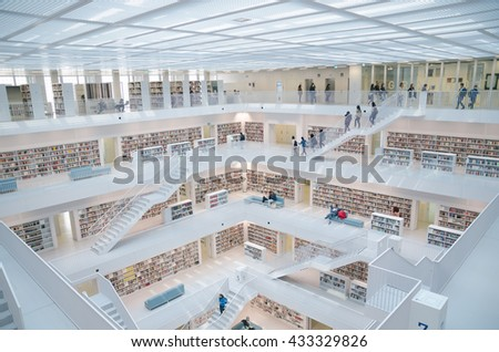 Stuttgart, Germany - May 21, 2015: The Stuttgart Public Library, opened in October 2011, and placed at Mailander Platz, was designed by Yi Architects and has more than 500,000 books. - stock photo