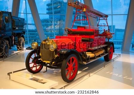 "STUTTGART, GERMANY - NOVEMBER 04, 2011: Interior and exhibits of Museum ""Mercedes-Benz Welt"""