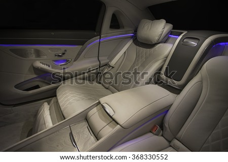Stuttgart - MARCH 25 : Mercedes Benz new Maybach on the evening with blue LED  on March  25, 2015 in Stuttgart Germany. - stock photo