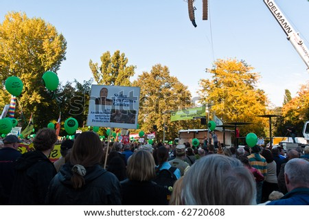 STUTTGART - OCT 9: 150,000 people protest against the S21 project on Oct 09, 2010 in Stuttgart. S21 is one of the most expensive and controversial railway projects.