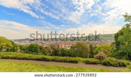 Stuttgart panoramic view from Karlshoehe - stock photo