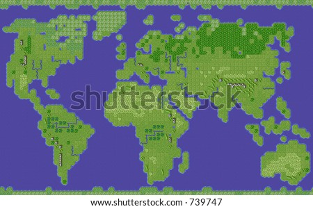 styalised earth map - stock photo