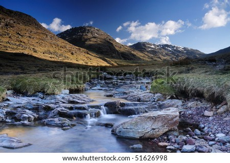 Styhead Gill and Great End, English Lake District - stock photo