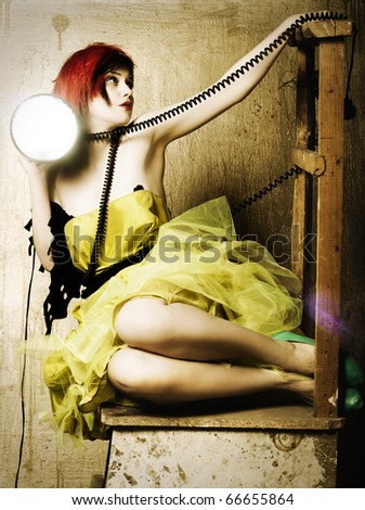 Style art photo of a sexy young woman with light - stock photo