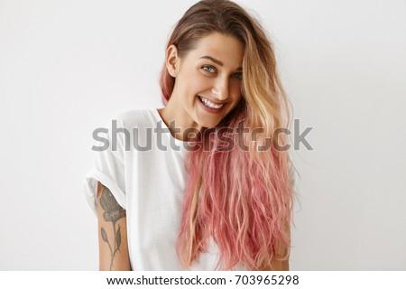Style Fashion Hair Coloring Concept Portrait Stock Photo 703965298 ...