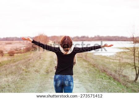 style fashion woman portrait outdoors - stock photo