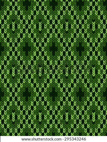 Style Knit woolen seamless jacquard ornament texture. Fabric Dark Green color tracery background - stock photo