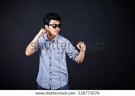 Style of fighting in the studio - stock photo