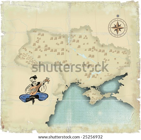 Style under old times of map of Ukraine in modern scopes with playing on the bandura of  Kazakh - stock photo
