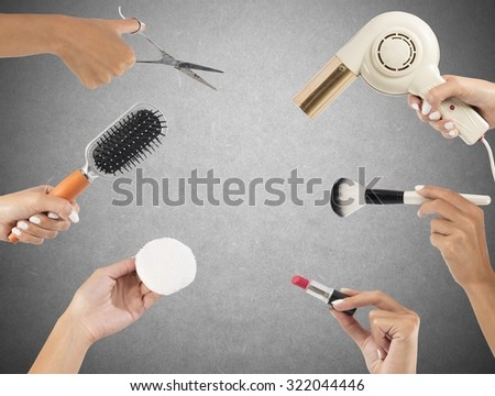 Styling tools for make up and hair - stock photo