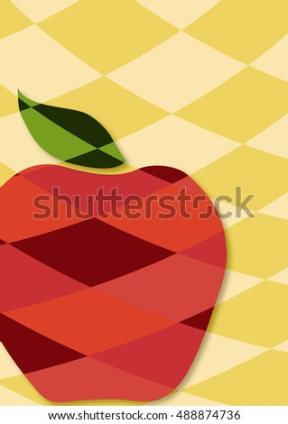 Stylised red apple with green leaf on curved diamond patchwork background