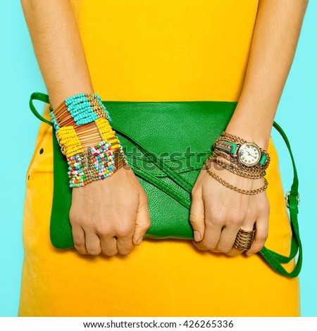 Stylish Accessories. Bag and Jewelry. Bright Summer Colors. - stock photo