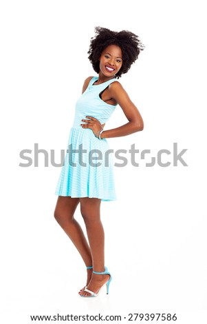 stylish african american woman full length portrait on white - stock photo
