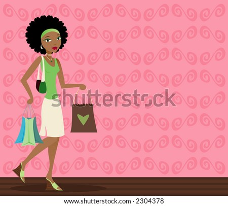 Stylish african-american woman with shopping bags in hand - stock photo