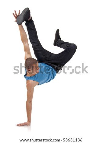 stylish and cool breakdance style dancer posing on a white background - stock photo