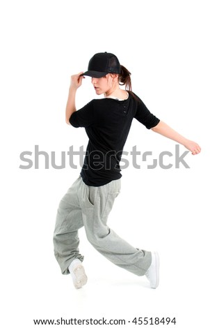 stylish and cool hip hop style dancer posing  on white background