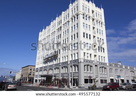 Stylish apartment building in Astoria downtown (Oregon).