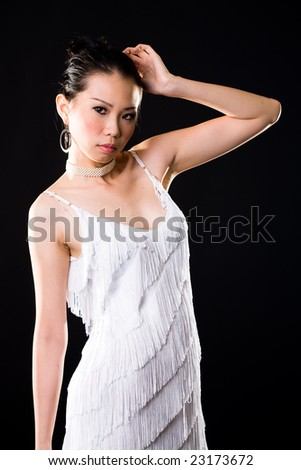 stylish asian young woman face expression