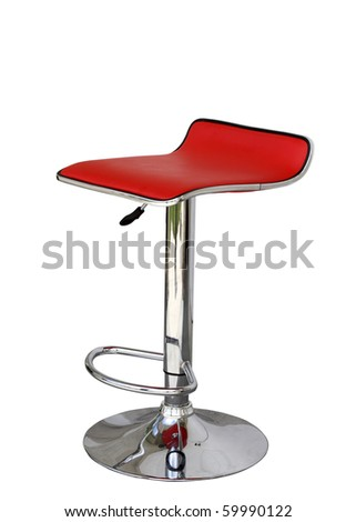 Stylish bar stool. Red stylish swivel chair - isolated on white - stock photo