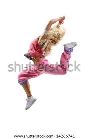 stylish beautiful dancer posing on white background - stock photo
