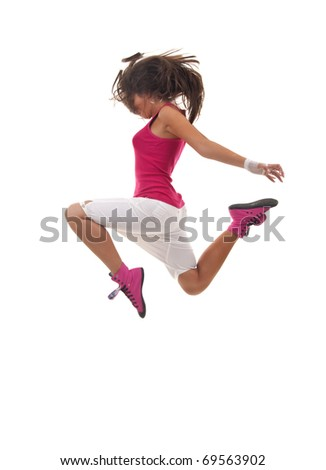 stylish beautiful dancer posing on white background - stock photo