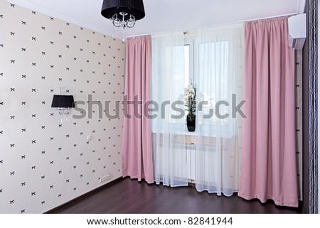 Stylish bedroom interior, window view - stock photo