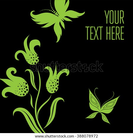 Stylish black floral background with butterflies - design elements can be used for invitation, greeting cards
