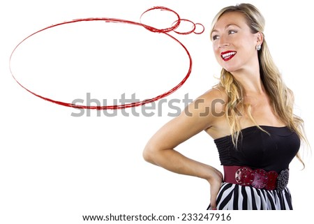 stylish blonde caucasian female looking at blank text space - stock photo
