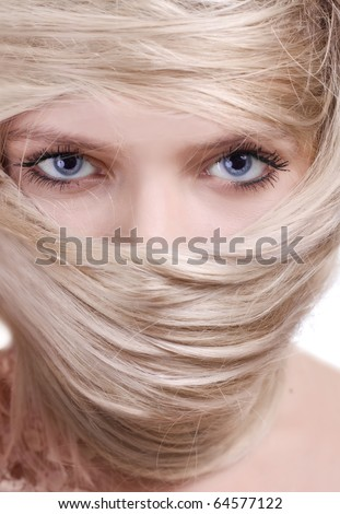 stylish blonde woman close-up hair mask portrait - stock photo